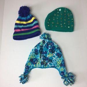 Girls beanie winter hats size 10/12/ large EUC
